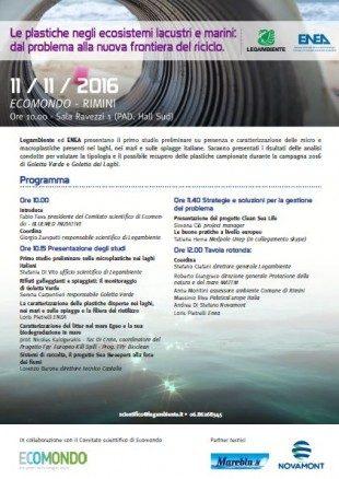 programma 11 NOVEMBRE 2016 Le plastiche negli ecosistemi lacustri e marini a Ecomondo 2016