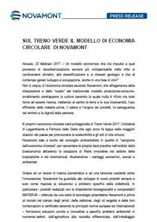 SUL TRENO VERDE IL MODELLO DI ECONOMIA CIRCOLARE DI NOVAMONT